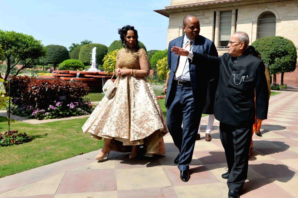 Swaziland King Mswati III calls on President Pranab Mukherjee at Rashtrapati Bhawan, in New Delhi on March 10, 2017. - Pranab Mukherjee