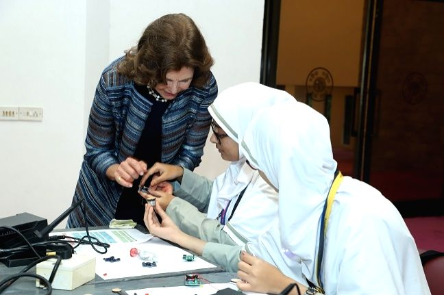 Sweden Queen Silvia interactes with students at a workshop on gender equality in education and workplace organised during Tekla Festival in Mumbai on Dec 5, 2019.