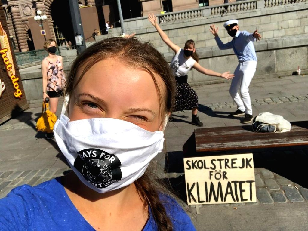 Swedish activist Greta Thunberg protests in front of Parliament in Stockholm