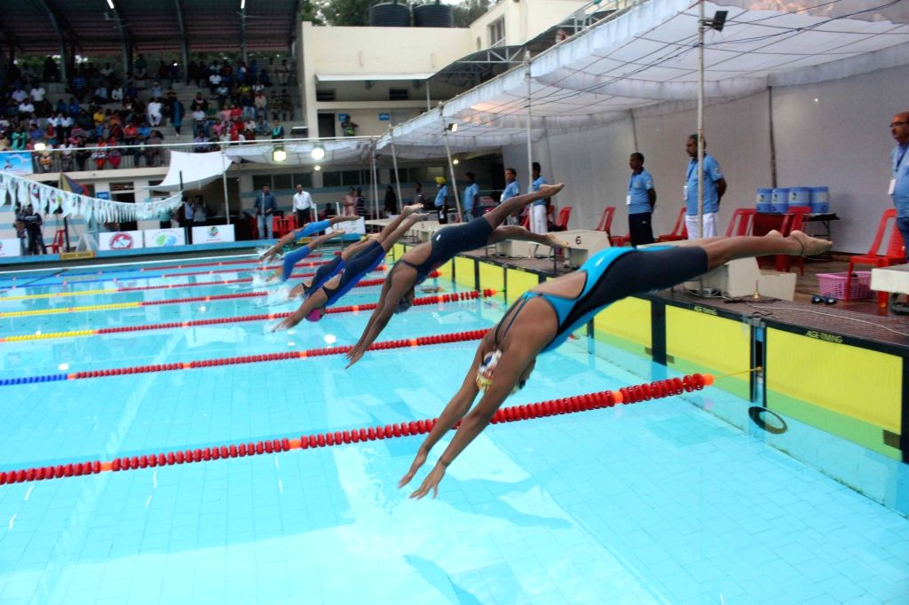Swimmers participate in 71st Senior National Aquatic Championships - 2017 in Bhopal, on Oct 10, 2017.