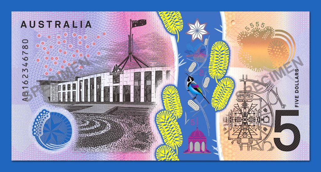 SYDNEY, April 12, 2016 - Photo provided by the Reserve Bank of Australia on April 12, 2016 shows the Parliament side of next generation five Australian dollar banknote. The Reserve Bank of Australia ...