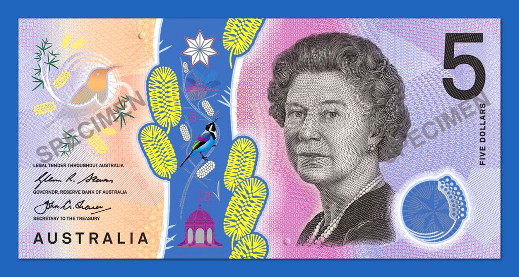 SYDNEY, April 12, 2016 - Photo provided by the Reserve Bank of Australia on April 12, 2016 shows the Queen side of the new five Australian dollar banknote. The Reserve Bank of Australia (RBA) on ...