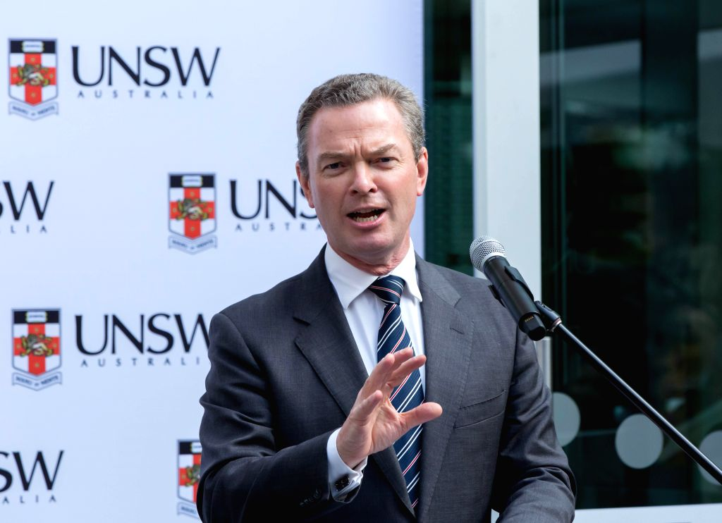 SYDNEY, April 22, 2016 - Australian Industry Minister Christopher Pyne speaks at the unveiling ceremony at the University of New South Wales (UNSW) in Sydney, Australia, April 22, 2016. Australia ... - Christopher Pyne