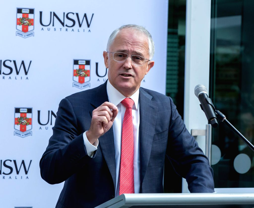 SYDNEY, April 22, 2016 - Australian Prime Minister Malcolm Turnbull speaks at the unveiling ceremony at the University of New South Wales (UNSW) in Sydney, Australia, April 22, 2016. Australia ... - Malcolm Turnbull