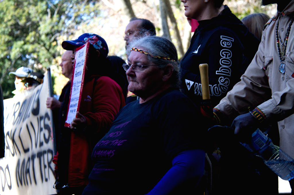 """SYDNEY, Aug. 4, 2016 - People attend a rally against """"colonial violence"""" in Sydney, Australia, Aug. 4, 2016. Aussie grannies marched through the streets of Australia's largest city Sydney ..."""