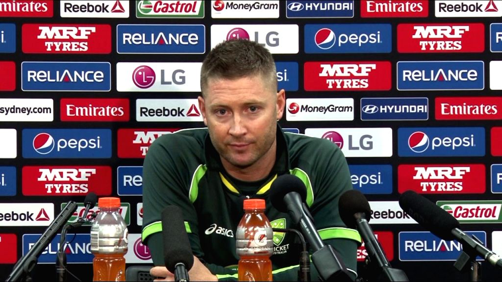 Australian captain Michael Clarke addresses a press conference at the ​​​Sydney Cricket Ground in Sydney, Australia on March 25, 2015.