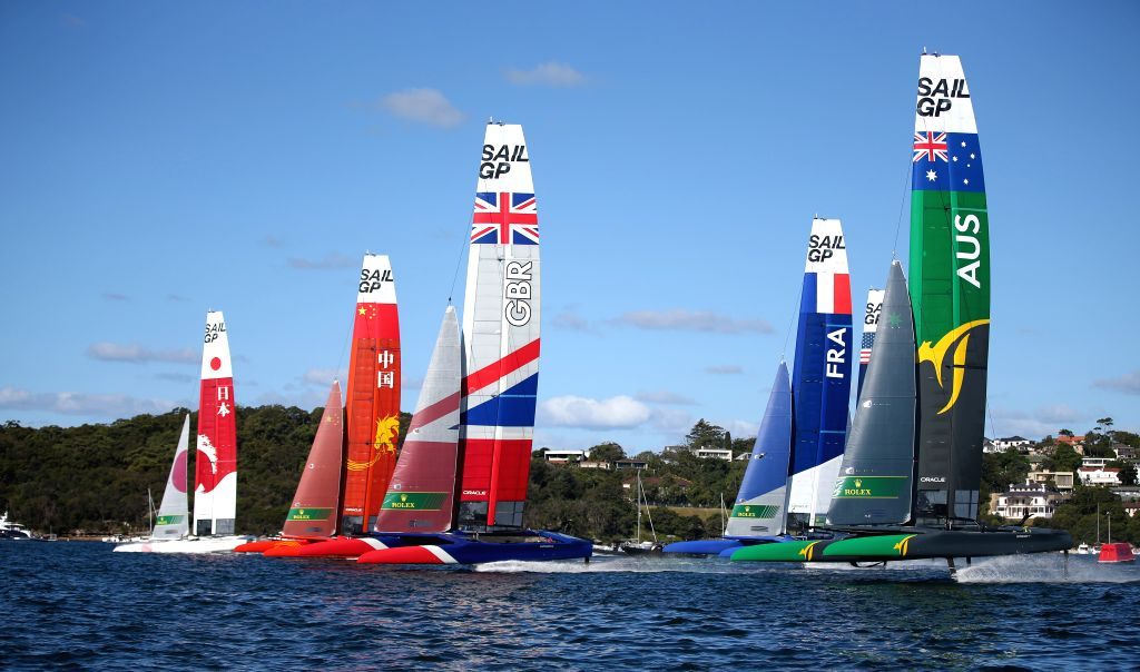 SYDNEY, Feb. 15, 2019 - SailGP teams compete during the race of SailGP in Sydney, Australia, on Feb. 15, 2019.