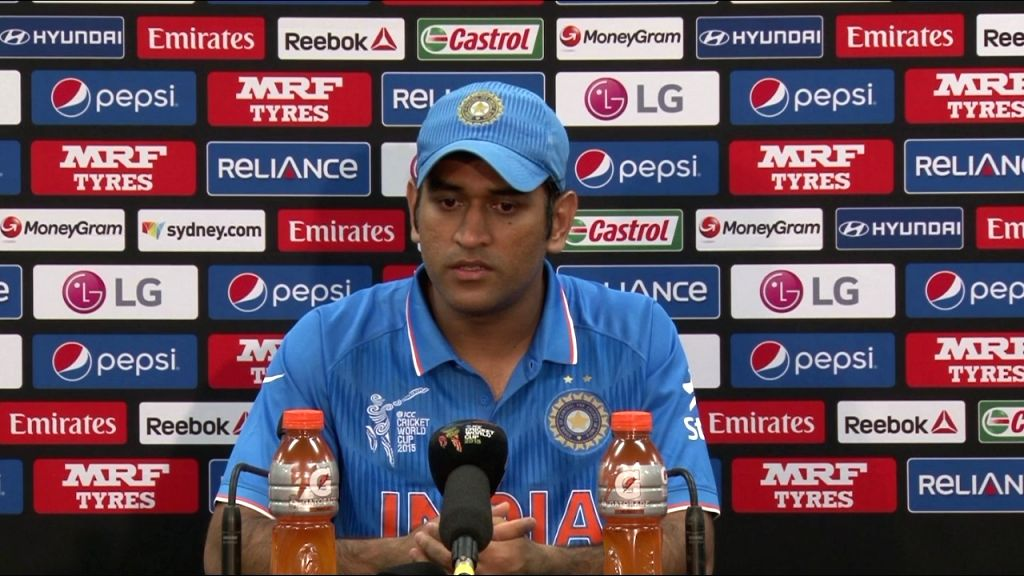 Indian captain MS Dhoni addresses a press conference after losing the World Cup 2015 semi-final match against Australia at the Sydney Cricket Ground, Australia on March 26, 2015. - MS Dhoni