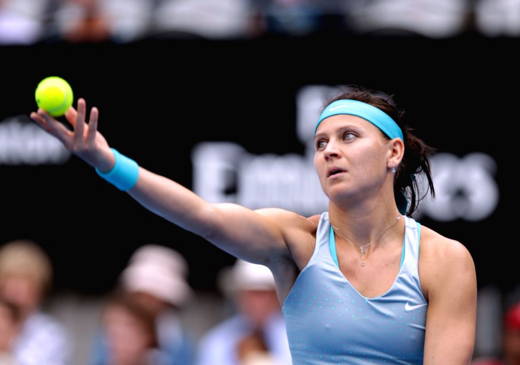 Safarova of Czech serves the ball during the women's singles first round match against Stosur of Australia during the Apia International Sydney tennis tournament in .