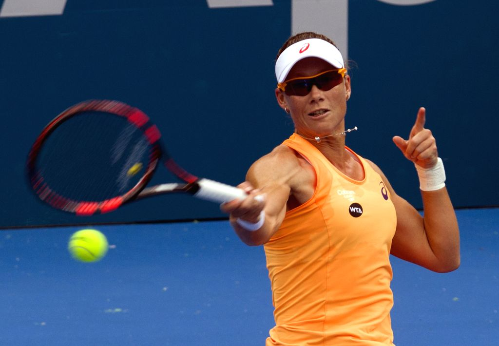 Stosur of Australia returns the ball during the women's singles first round match against Safarova of Czech during the Apia International Sydney tennis tournament in