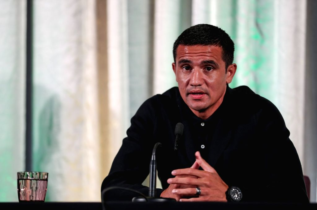 SYDNEY, July 20, 2018 - Former Australia's national soccer team player Tim Cahill speaks to the media at a press conference in Sydney, Australia, on July 20, 2018.