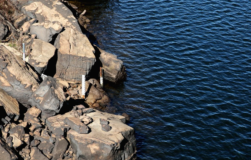 SYDNEY, June 2, 2019 - Photo taken on May 31, 2019 shows water level meters of Cataract reservoir in Australia. Sydney reintroduced water usage restrictions last week as dam levels fall towards 50 ...