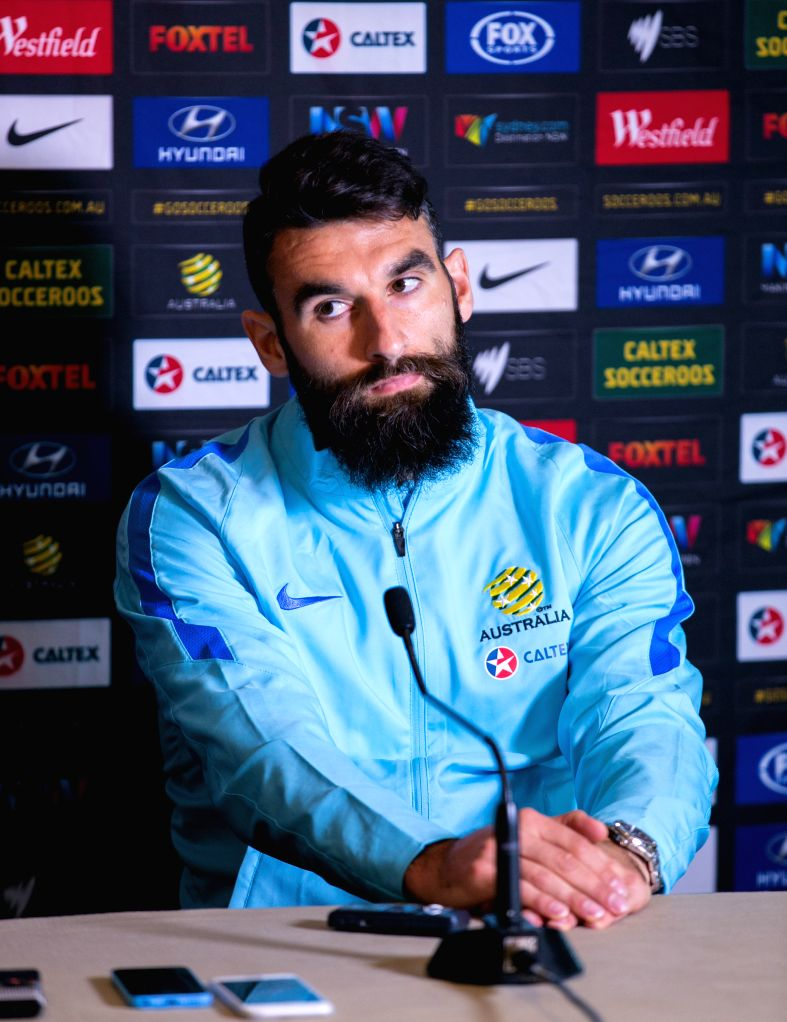 SYDNEY, June 3, 2016 - Australian football player Mile Jedinak attends a pre-match press conference in Sydney, Australia, June 3, 2016. A friendly match between Greece and Australia will be held here ...