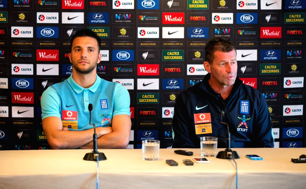 SYDNEY, June 3, 2016 - Coach of Greek soccer team Michael Skibbe (R) and player Andreas Samaris attend a pre-match press conference in Sydney, Australia, June 3, 2016. A friendly match between Greece ...