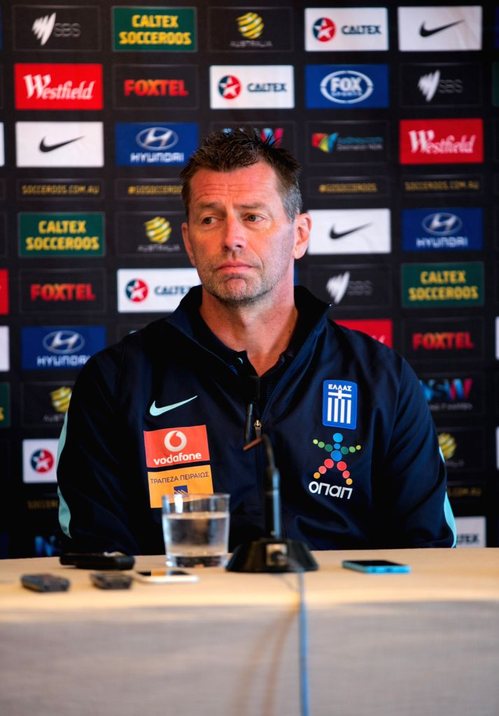 SYDNEY, June 3, 2016 - Coach of Greek soccer team Michael Skibbe attends a pre-match press conference in Sydney, Australia, June 3, 2016. A friendly match between Greece and Australia will be held ...