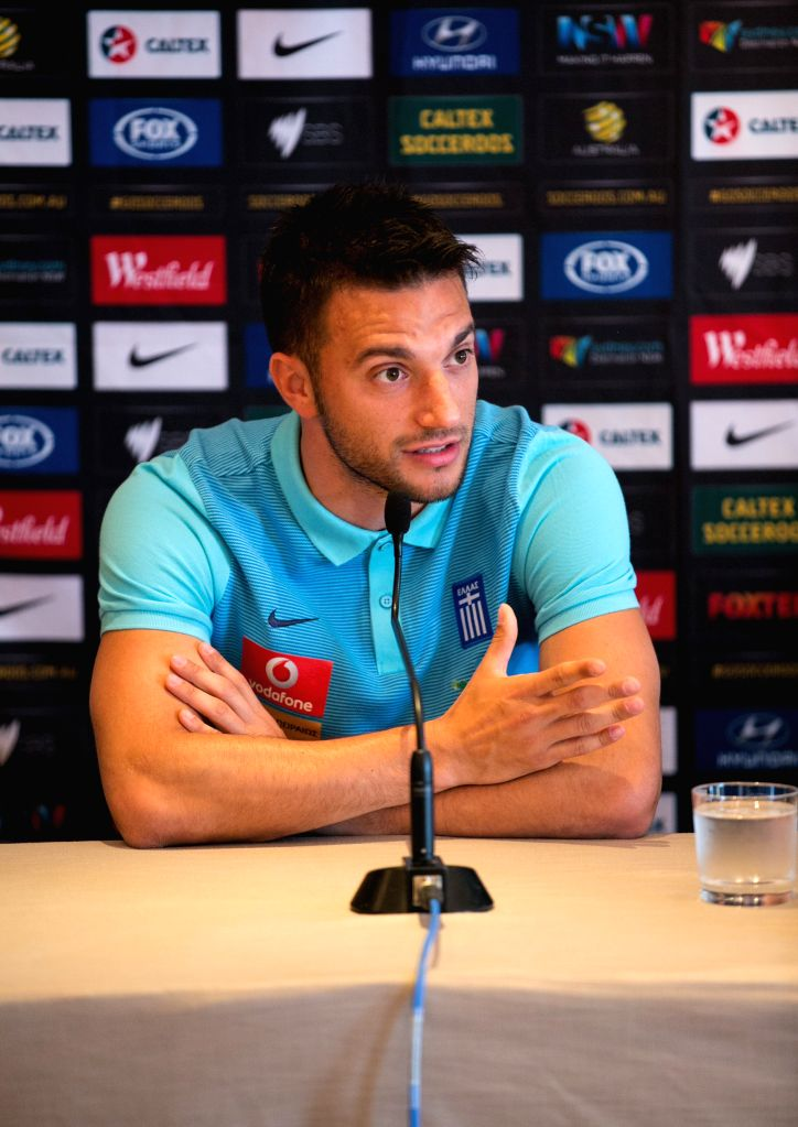 SYDNEY, June 3, 2016 - Greek football player Andreas Samaris attends a pre-match press conference in Sydney, Australia, June 3, 2016. A friendly match between Greece and Australia will be held here ...