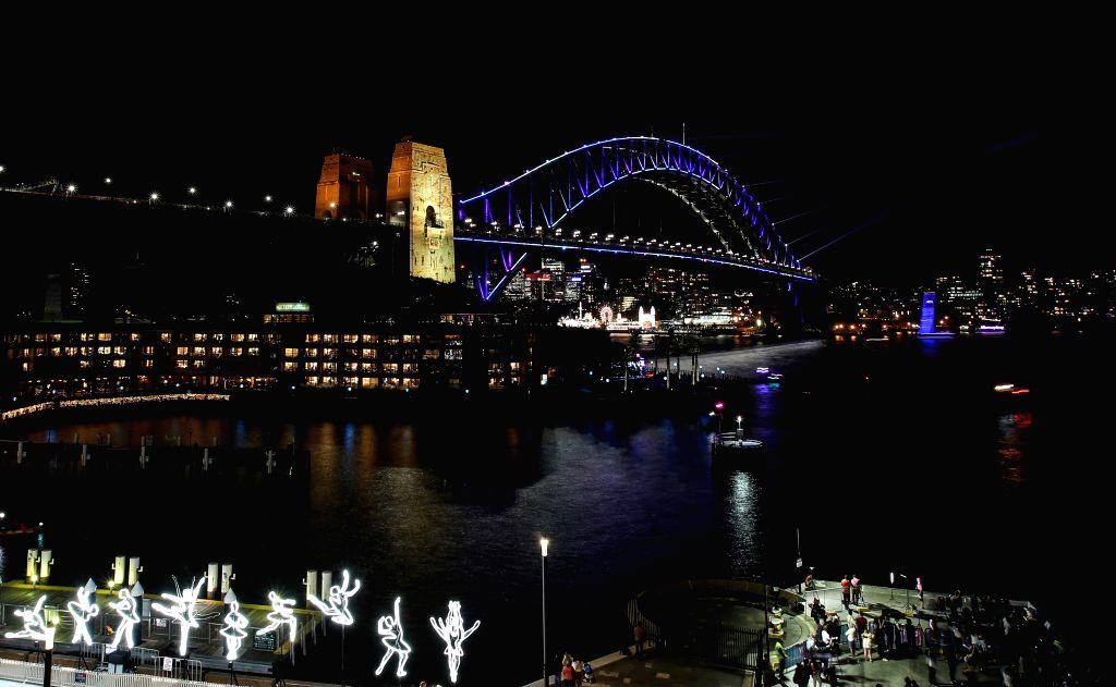 SYDNEY, May 24, 2019 - Photo taken on May 24, 2019 shows the Sydney Harbour Bridge during the Vivid Sydney light show in Sydney, Australia.