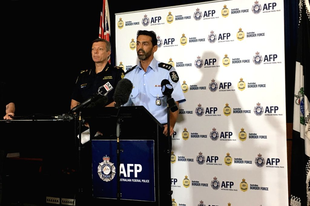 SYDNEY, Nov. 22, 2016 - Australian Federal Police (AFP) acting commander Brett James speaks at a joint press conference in Sydney, Australia, Nov. 22, 2016. Australian Federal Police and Australian ...