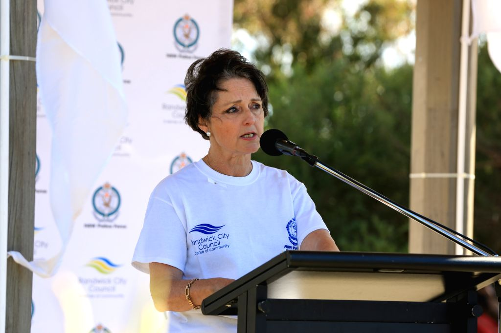 SYDNEY, Nov. 25, 2016 - New South Wales Minister for the Prevention of Domestic Violence and Sexual Assault Pru Goward speaks after the White Ribbon Walk on the International Day for the Elimination ...