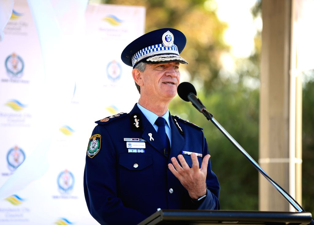 SYDNEY, Nov. 25, 2016 - New South Wales Police Commissioner Andrew Scipione speaks after the Sydney White Ribbon Walk in Sydney, Australia, Nov. 25, 2016. Scores of Sydneysiders took to the city's ...