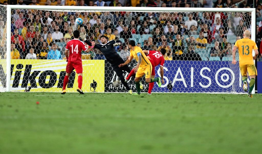 SYDNEY, Oct. 10, 2017 - Tim Cahill (C) of Australia scores during the FIFA World Cup 2018 Qualifiers Asian Playoff match between Australia and Syria at Sydney Olympic Stadium in Sydney, Australia, ...