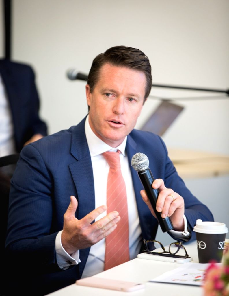 SYDNEY, Oct. 6, 2016 - New Hope Group Co. Ltd. Australia and New Zealand managing director and chief executive Nick Dowling speaks in Sydney, Australia, Oct. 6, 2016. Diversified Chinese conglomerate ...