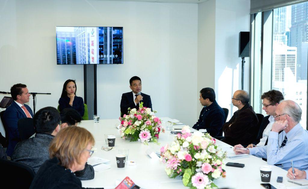 SYDNEY, Oct. 6, 2016 - New Hope Group Co. Ltd. chairman Liu Yonghao (C) speaks in Sydney, Australia, Oct. 6, 2016. Diversified Chinese conglomerate New Hope Group Co. Ltd's Australian expansion has ...