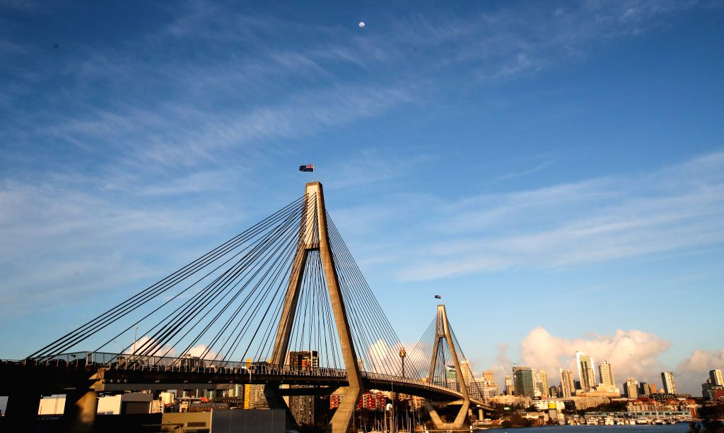 "SYDNEY, Sept. 12, 2019 - Photo taken on Sept. 10, 2019 shows the Anzac Bridge in Sydney, Australia. The Anzac Bridge is located in Sydney Harbour. The original name of the bridge is ""Glebe ..."