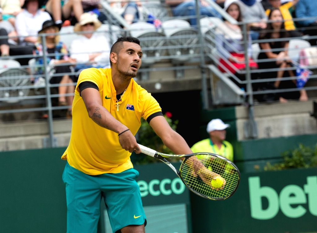 SYDNEY, Sept. 16, 2016 - Nick Kyrgios of Australia serves the ball during the Davis Cup World Group playoff against Andrej Martin of Slovakia in Sydney, Australia, Sept. 16, 2016. Nick Kyrgios won ...