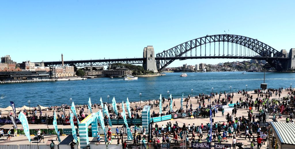 SYDNEY, Sept. 17, 2017 - Participants jog during the Bridge Run of the Sydney Running Festival in Sydney, Australia, on Sept. 17, 2017. Around 34,000 runners took part in the event.