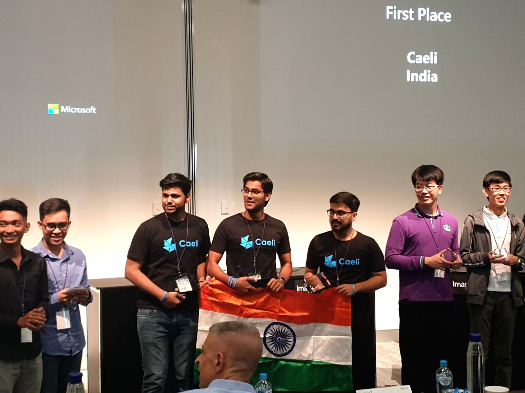 Sydney: The winning team from Faridabad-based Manav Rachna Institute of Research and Studies at Microsoft Imagine Cup 2019 in Sydney on Feb. 12, 2019. (Photos: IANS)