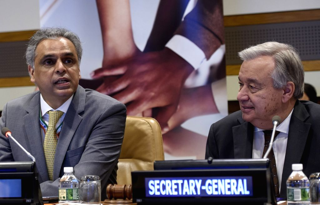 Syed Akbaruddin, left, who completed his tenure as India's permanent representative to the United Nations, with Secretary-General Antonio Guterres. (Photo: UN/IANS)