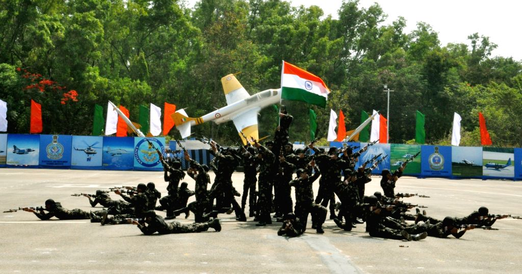 Synchronised PT display in lotus formation by trainees on the occasion of passing out parade at Air Force Station, Jalahalli, in Bengaluru, on April 22, 2016.