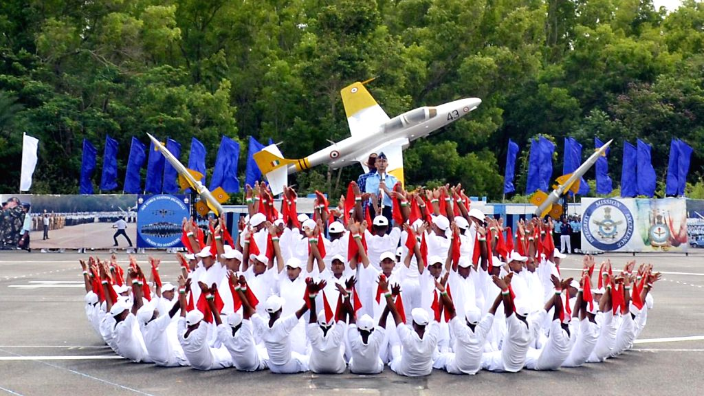 """Synchronized PT Display in """"Lotus Formation"""" by trainees of Joint Basic Phase Training Intake and Logistics Assistant at Air Force Station in Bangalore on July 4, 2014."""