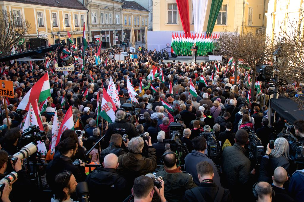SZEKESFEHERVAR (HUNGARY), April 6, 2018 Fidesz supporters take part in the last rally of the Fidesz party ahead of the general elections in Szekesfehervar, central Hungary, on April 6, ... - Viktor Orban