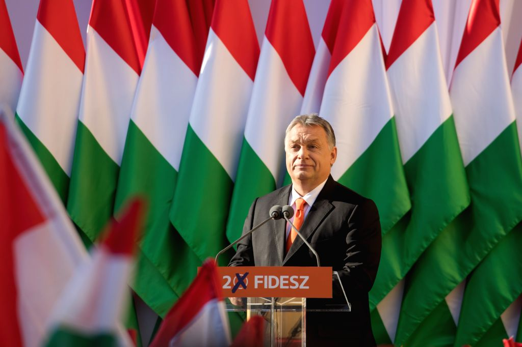 SZEKESFEHERVAR (HUNGARY), April 6, 2018 Hungarian Prime Minister Viktor Orban delivers a speech at the last rally of the Fidesz party ahead of the general elections in Szekesfehervar, ... - Viktor Orban