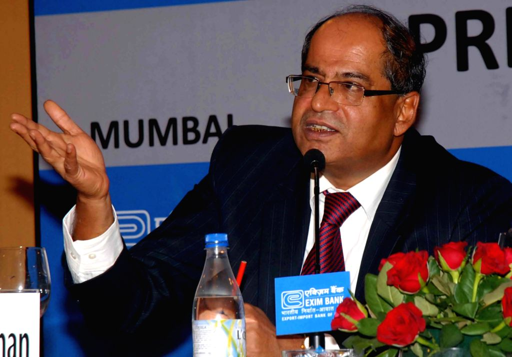 T C A Ranganathan, Chairman & Managing Director - EXIM Bank with David Rasquinha announced the Bank`s results for the year 2012-13 at a press conference in Mumbai on Thursday May 23, 2013.