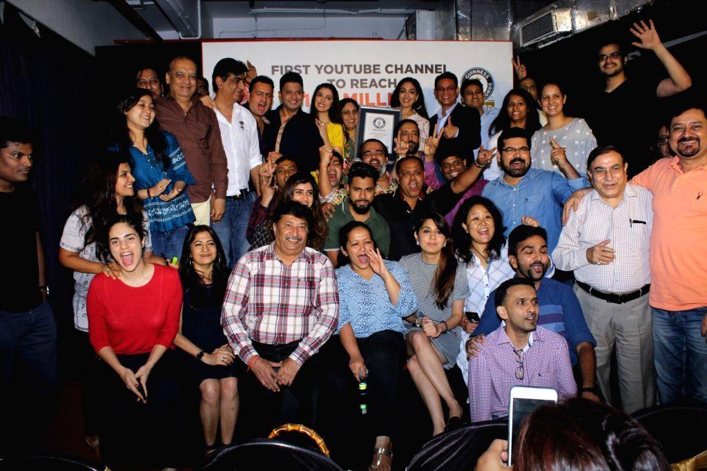 T-Series Chairman and Managing Director Bhushan Kumar with his family members Divya Khosla Kumar, Khushali Kumar and Sudesh Kumari during a programme, where music record label and film ... - Bhushan Kumar, Divya Khosla Kumar and Khushali Kumar
