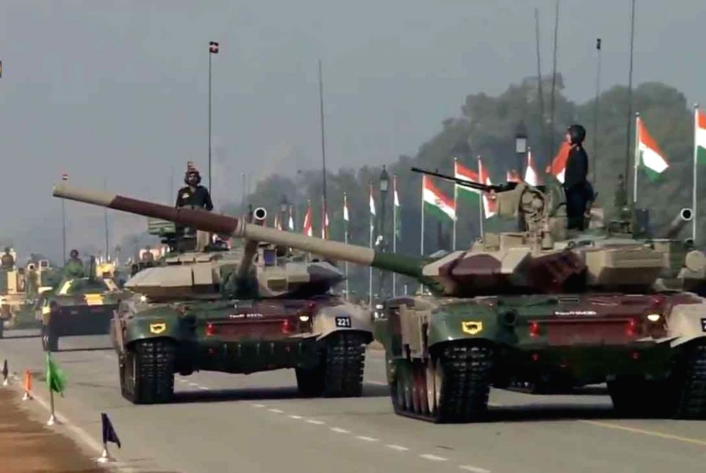 T90 Bheeshma Main Battle Tanks roll down the Rajpath during the 71st Republic Day parade, in New Delhi on Jan 26, 2020.