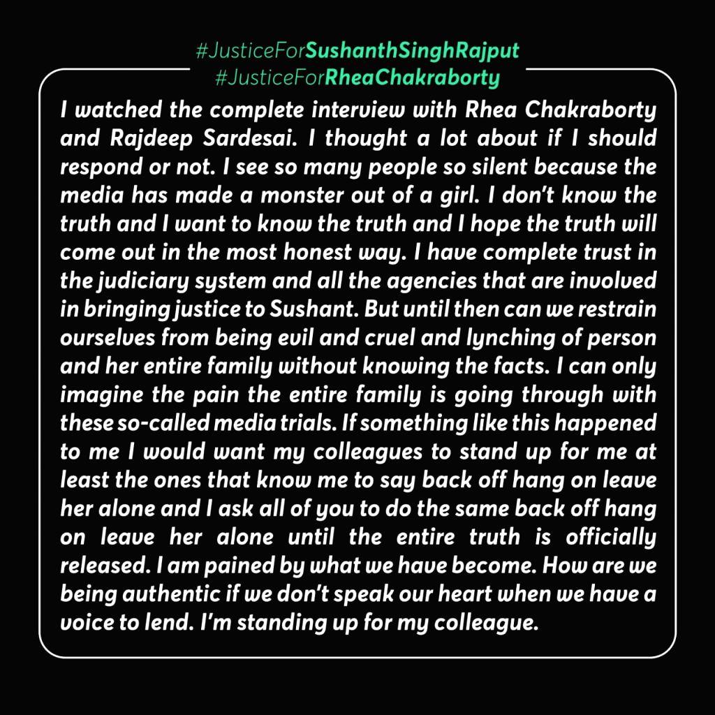 Taapsee Pannu, Lakshmi Manchu condemn 'media trials' of Rhea Chakraborty - Chakraborty