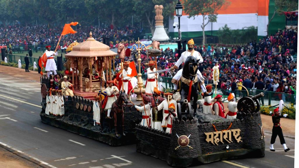 Tableau of Maharashtra showcasing coronation of Maratha King Chhatrapati Shivaji at the Raigad Fort on June 6, 1674; on Rajpath during the full dress rehearsal for the Republic Day Parade ...