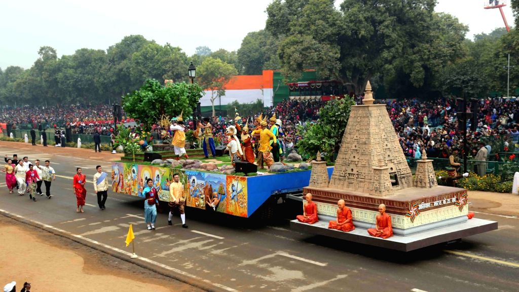 Tableaux of the Ministry of External Affairs showcasing ancient and strong bonding between India and ASEAN in the field of religion, education, social and business; at the Rajpath during ...