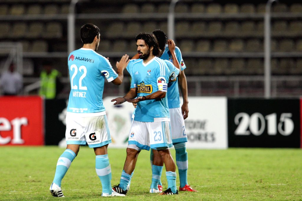 Sporting Cristal's players react before the Group 8 match of the Libertadores Cup against Deportivo Tachira, held at Pueblo Nuevo Stadium, in San Cristobal, Tachira ...
