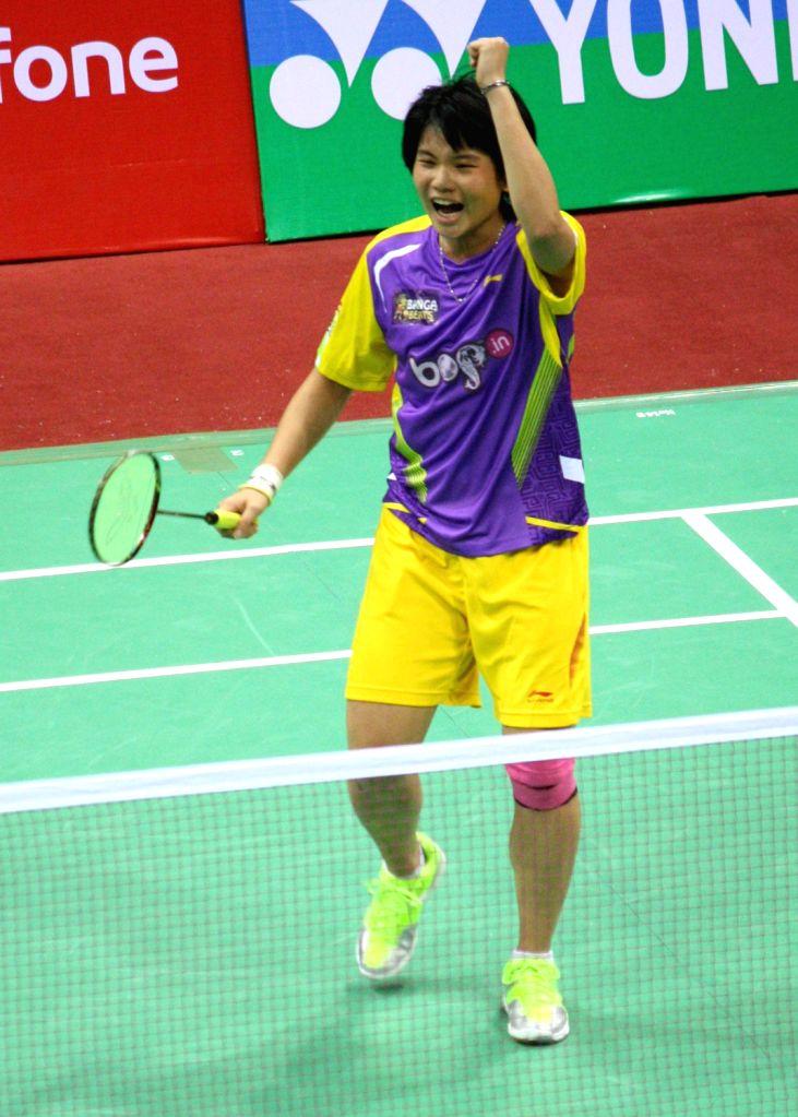 Tai Tzu Ying of Banga Beats exults after wining against Mumbai Masters` Tine Baun at the Indian Badminton League in New Delhi on August 15, 2013. (Photo::: IANS)