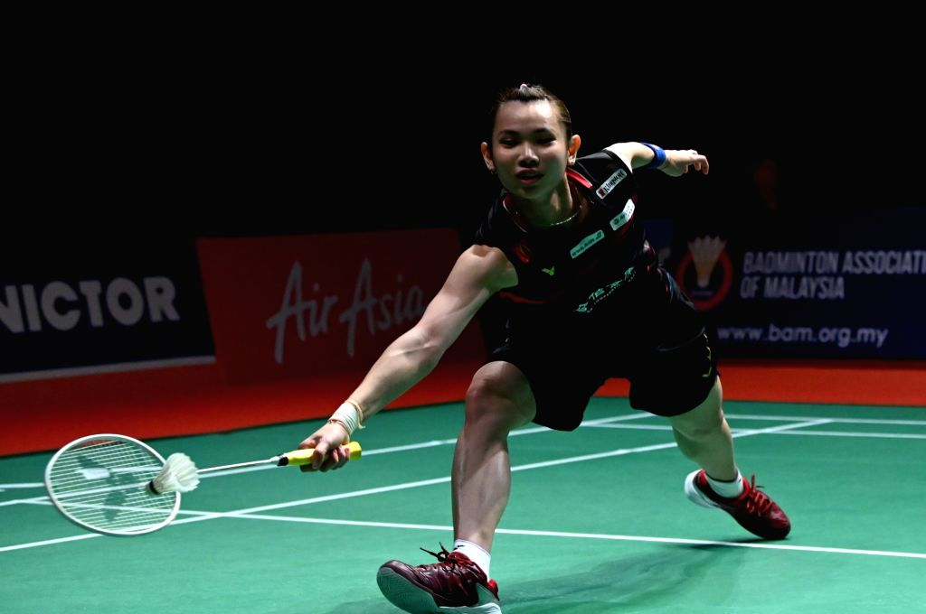Tai Tzu Ying of Chinese Taipei competes during the women's singles first round match against Zhang Yiman of China at Malaysia Masters 2020 badminton tournament ...