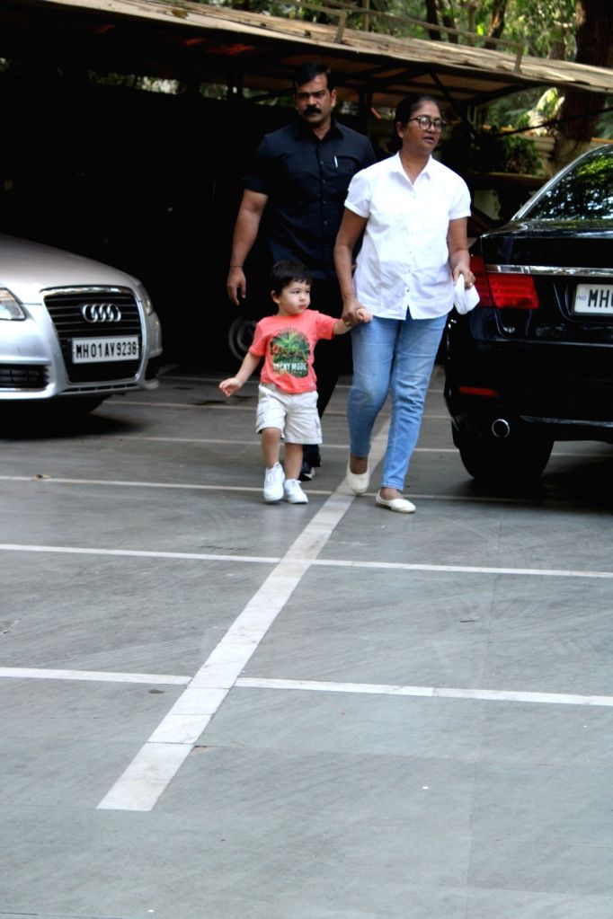 Taimur Ali Khan, son of actors Saif Ali Khan and Kareena Kapoor Khan seen in Mumbai's Bandra, on April 3, 2019. - Saif Ali Khan, Kareena Kapoor Khan and Taimur Ali Khan