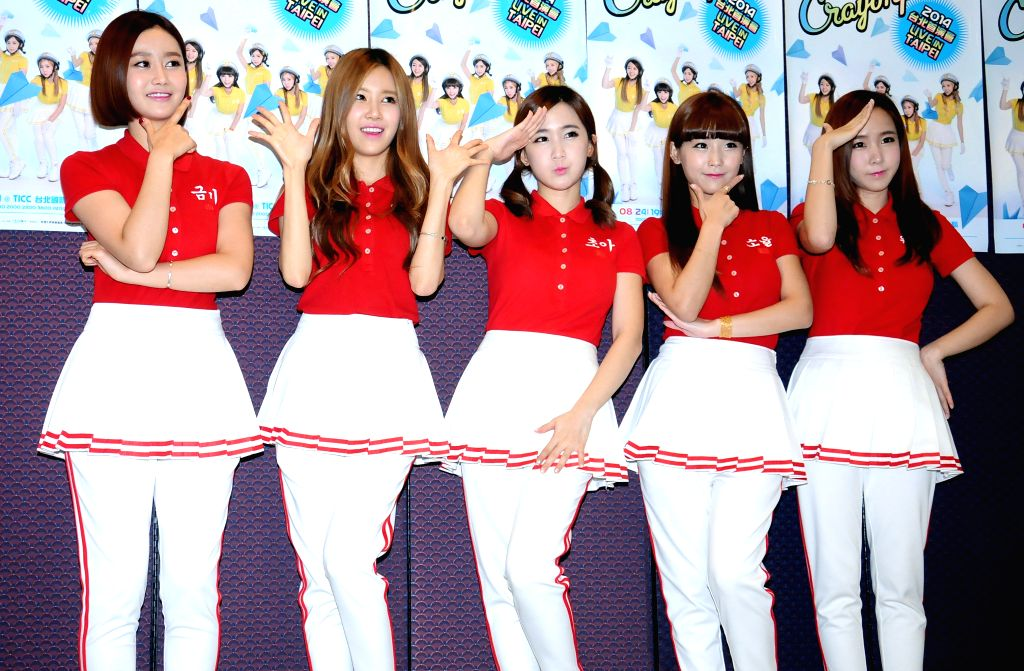 """South Korean girl group """"Crayon Pop"""" performs at a fan meeting in the Taipei International Convention Center in Taipei, southeast China's Taiwan, Aug. 24, ."""