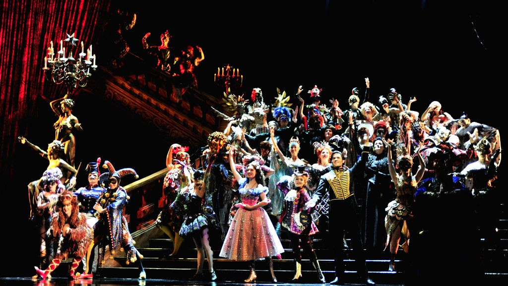 """Actors perform at a rehearsal of the musical """"Phantom of the Opera"""" in Taipei, southeast China's Taiwan, Sept. 11, 2014. The musical will be on stage here"""