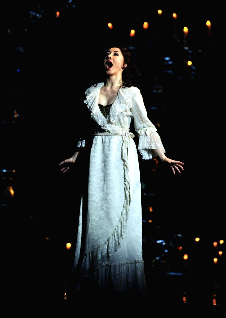 """Actress Claire Lyon performs at a rehearsal of the musical """"Phantom of the Opera"""" in Taipei, southeast China's Taiwan, Sept. 11, 2014. The musical will be - Claire Lyon"""
