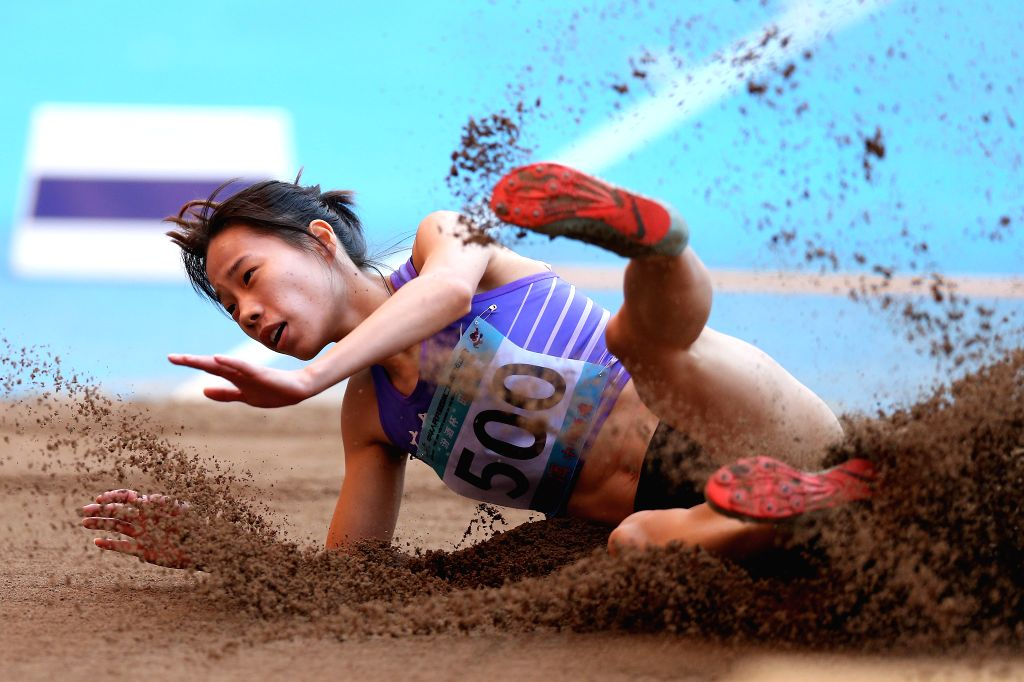 TAIYUAN, Aug. 16, 2019 - Chen Shuiqing of Guangdong Province Delegation competes during women's long jump final at the 2nd Youth Games of the People's Republic of China in Taiyuan, north China's ...